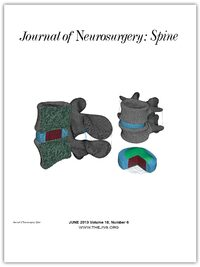 Cover Journal of Neurosurgery: Spine